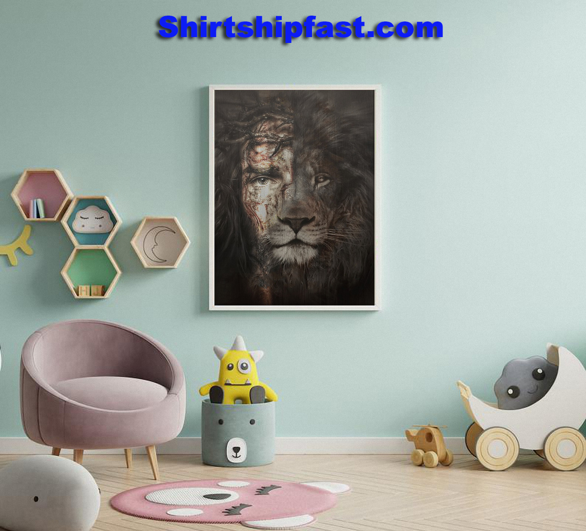 The perfect combination Jesus and lion canvas