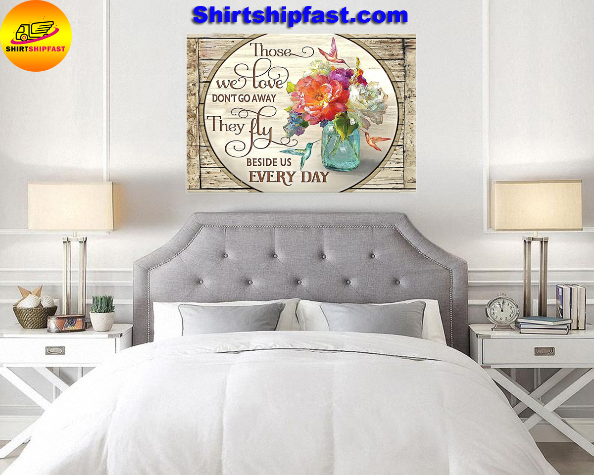 Those we love don't go away hummingbird flowers canvas - Picture 2