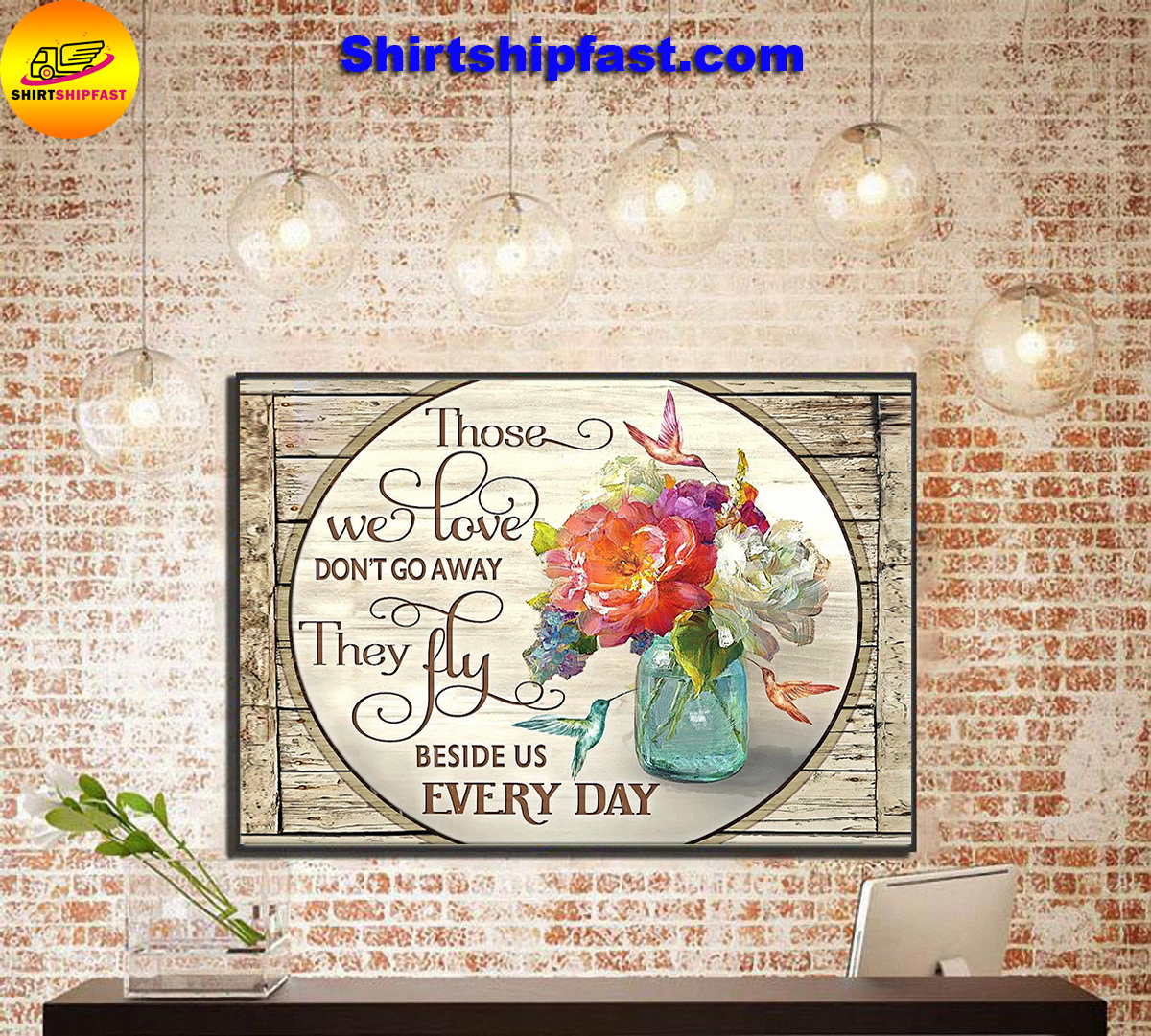 Those we love don't go away hummingbird flowers canvas - Picture 3