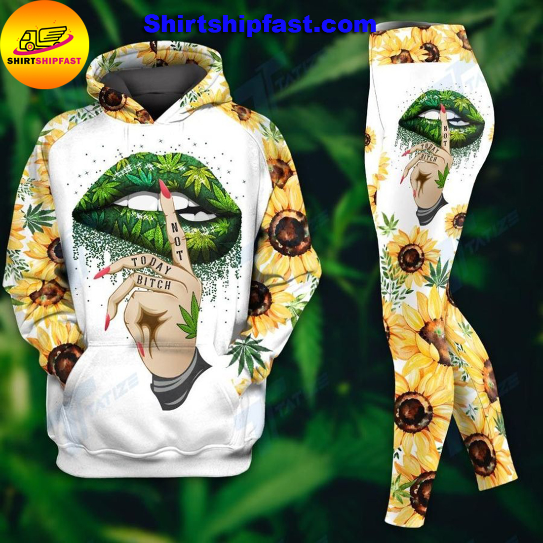 Weed don't care bear not today bitch 3d hoodie and leggings