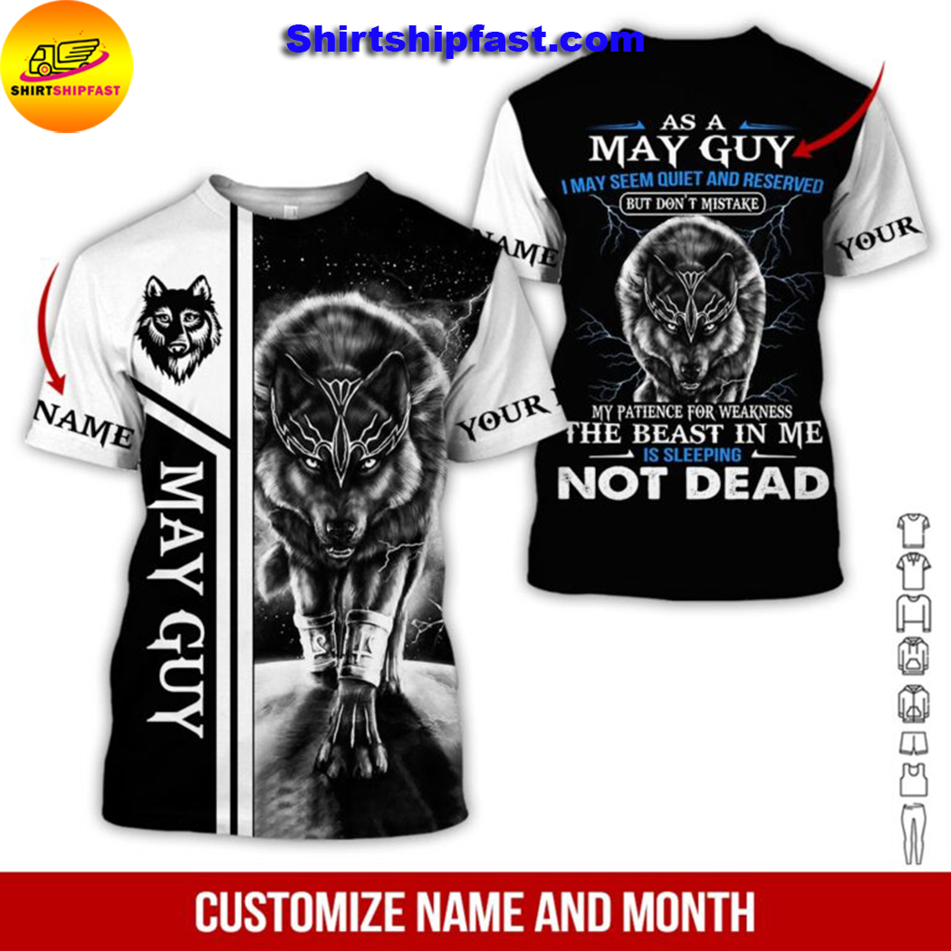 Wolf Personalized name and month all over printed t-shirt