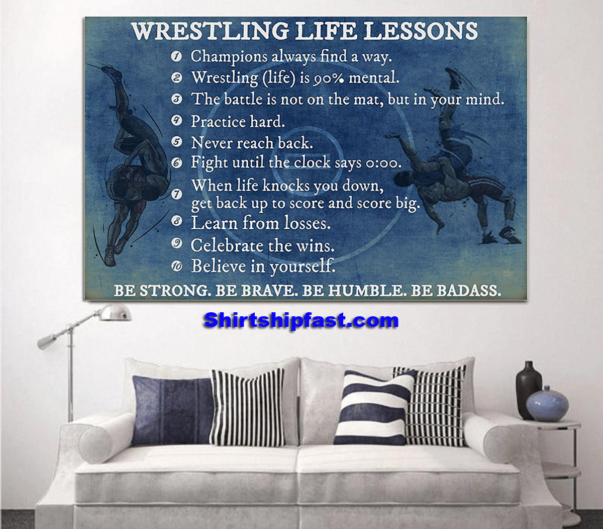 Wrestling life lessons be strong be brave be humble be badass poster - Picture 1