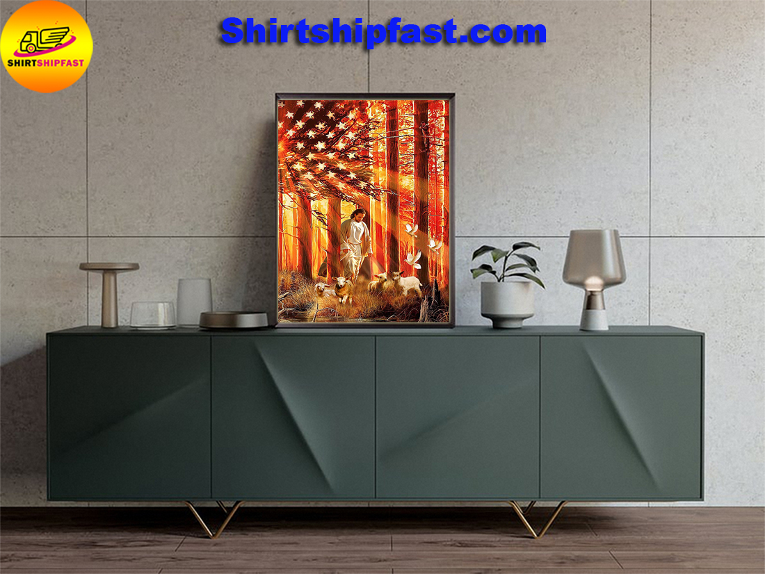 American flag god lamb and dove poster - Picture 3