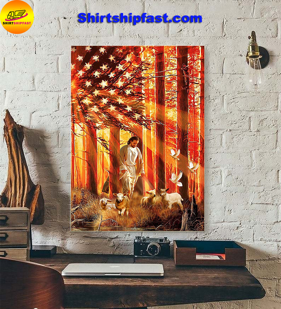 American flag god lamb and dove poster