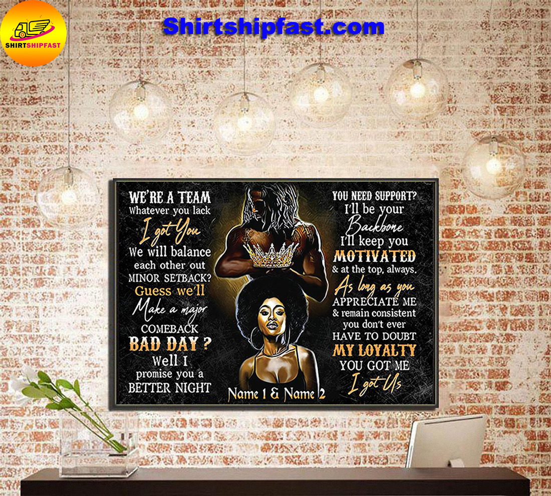 Black couple We're a team personalized custom name poster and canvas