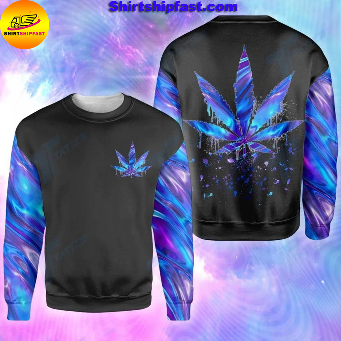 Cannabis weed leaf hologram holographic all over printed sweatshirt
