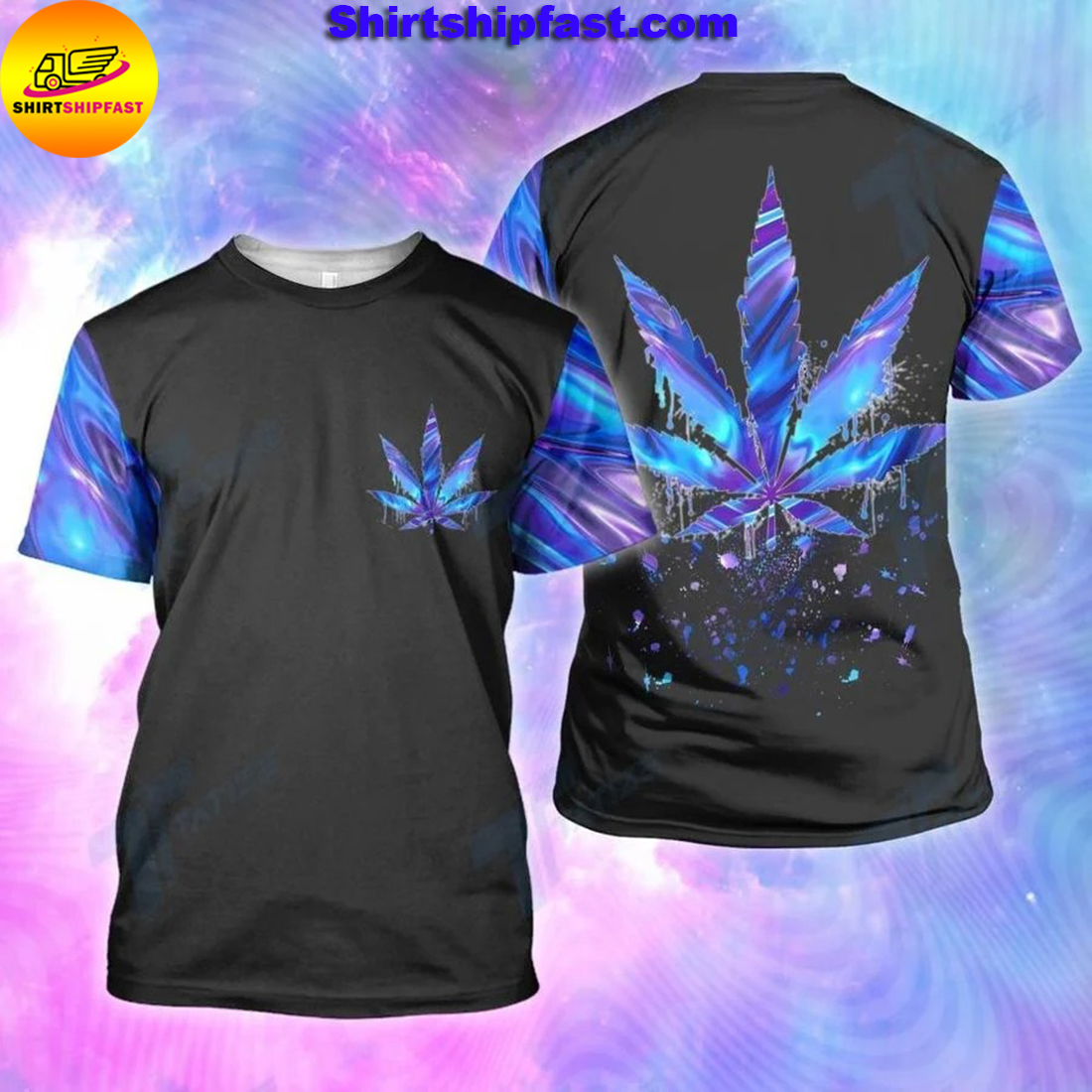 Cannabis weed leaf hologram holographic all over printed t-shirt