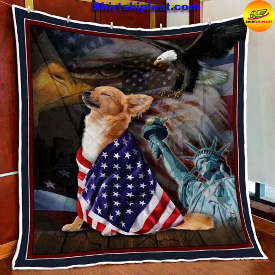 Chihuahua American patriot quilt blanket - Picture 1