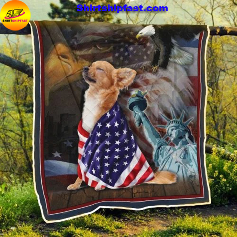 Chihuahua American patriot quilt blanket - Picture 2