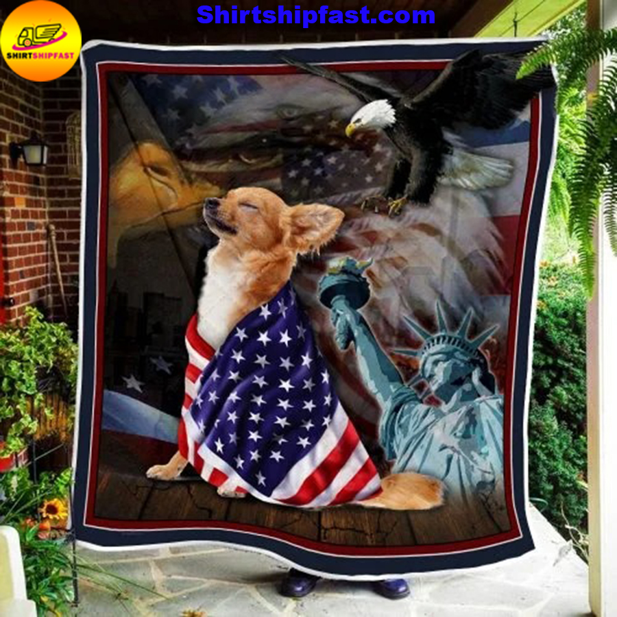Chihuahua American patriot quilt blanket - Picture 3