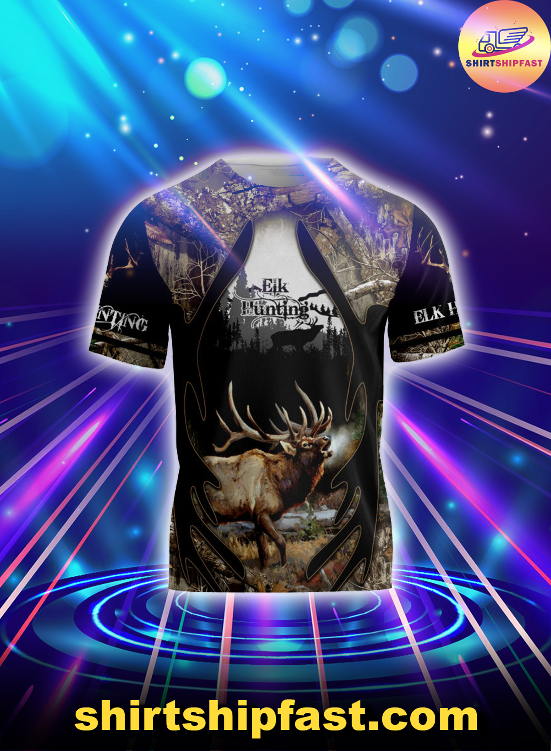 Elk hunting 3d all over printed t-shirt