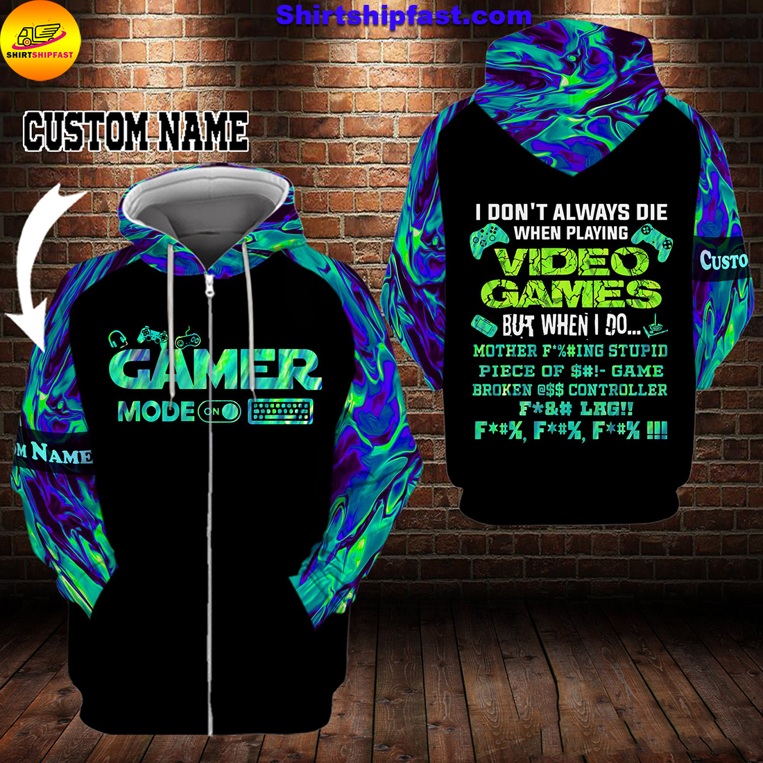 Gamer I don't always die when playing video games personalized custom name 3d zip hoodie
