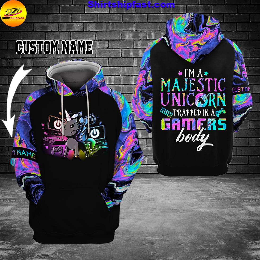 Gamer I'm a majestic unicorn trapped in a gamer's body personalized custom name 3d hoodie