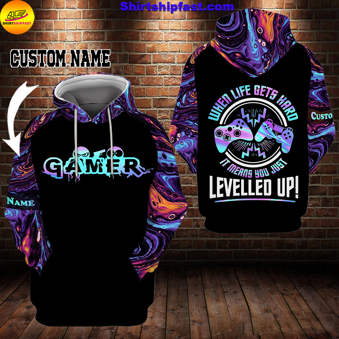 Gamer When life gets hard it means you just levelled up personalized custom name 3d hoodie and zip hoodie