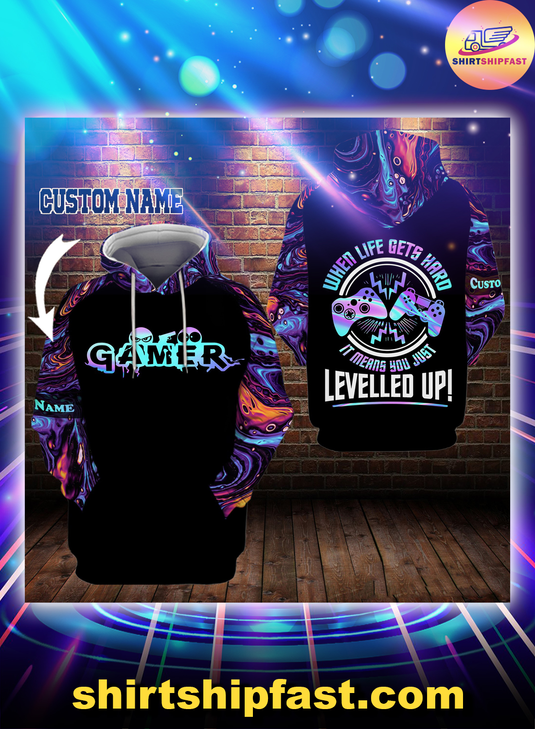Gamer When life gets hard it means you just levelled up personalized custom name 3d hoodie