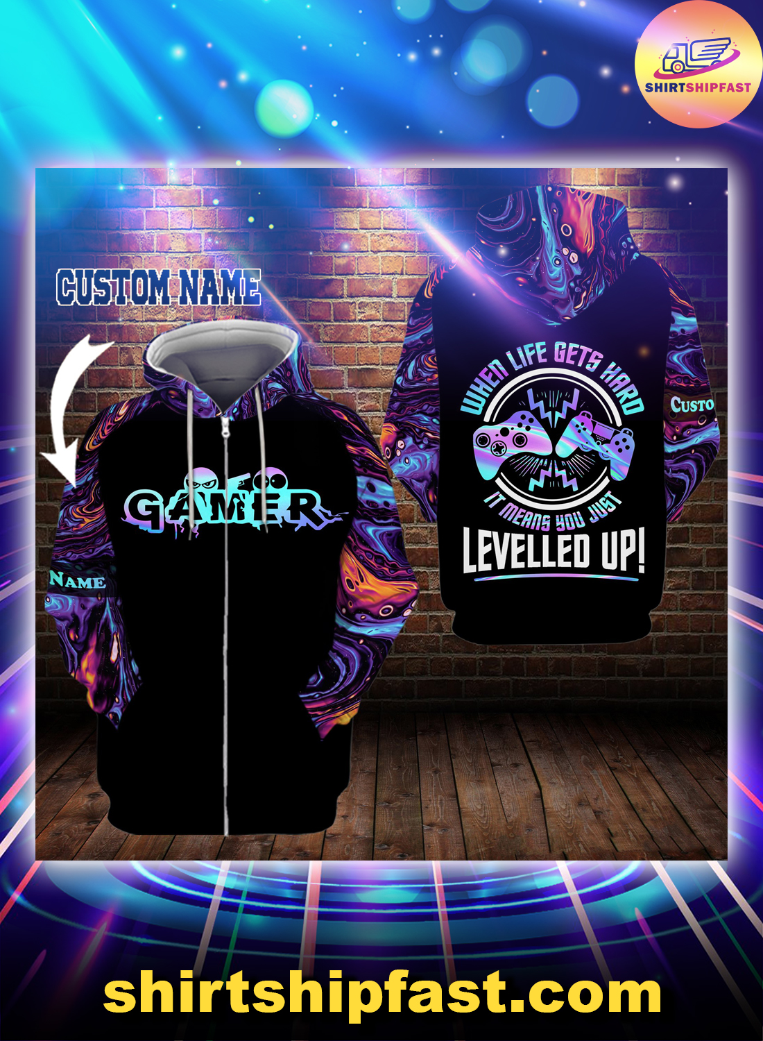 Gamer When life gets hard it means you just levelled up personalized custom name 3d zip hoodie