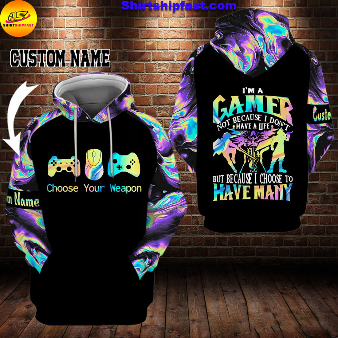Gamer choose your weapon personalized custom name 3d hoodie