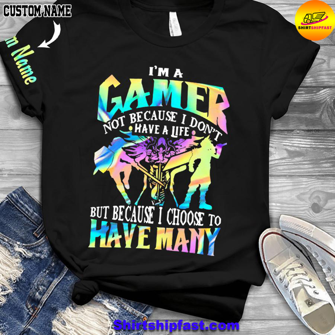 Gamer choose your weapon personalized custom name 3d t-shirt