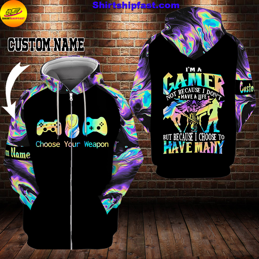 Gamer choose your weapon personalized custom name 3d zip hoodie