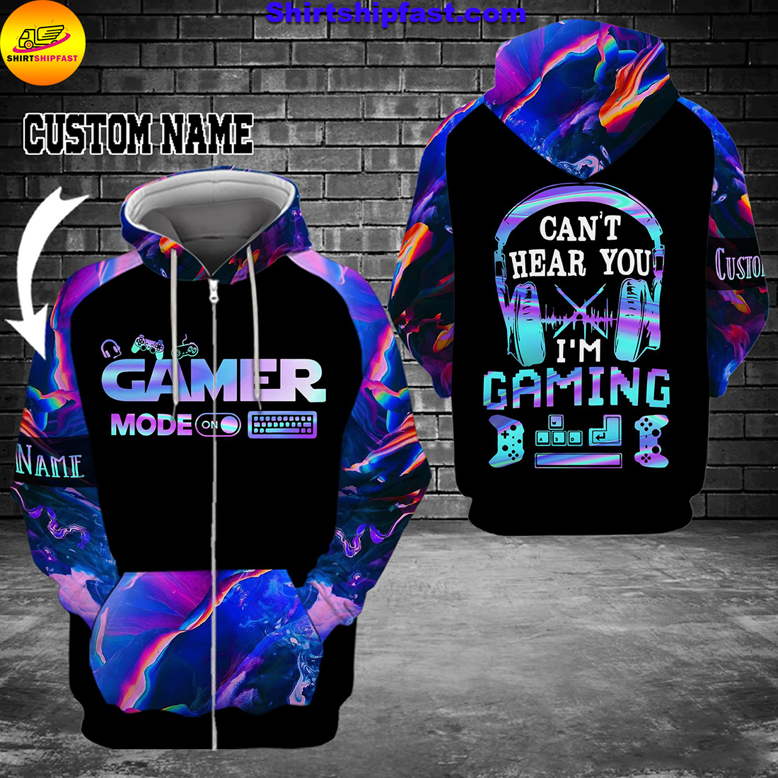 Gamer mode Can't hear you I'm gaming personalized custom name 3d zip hoodie