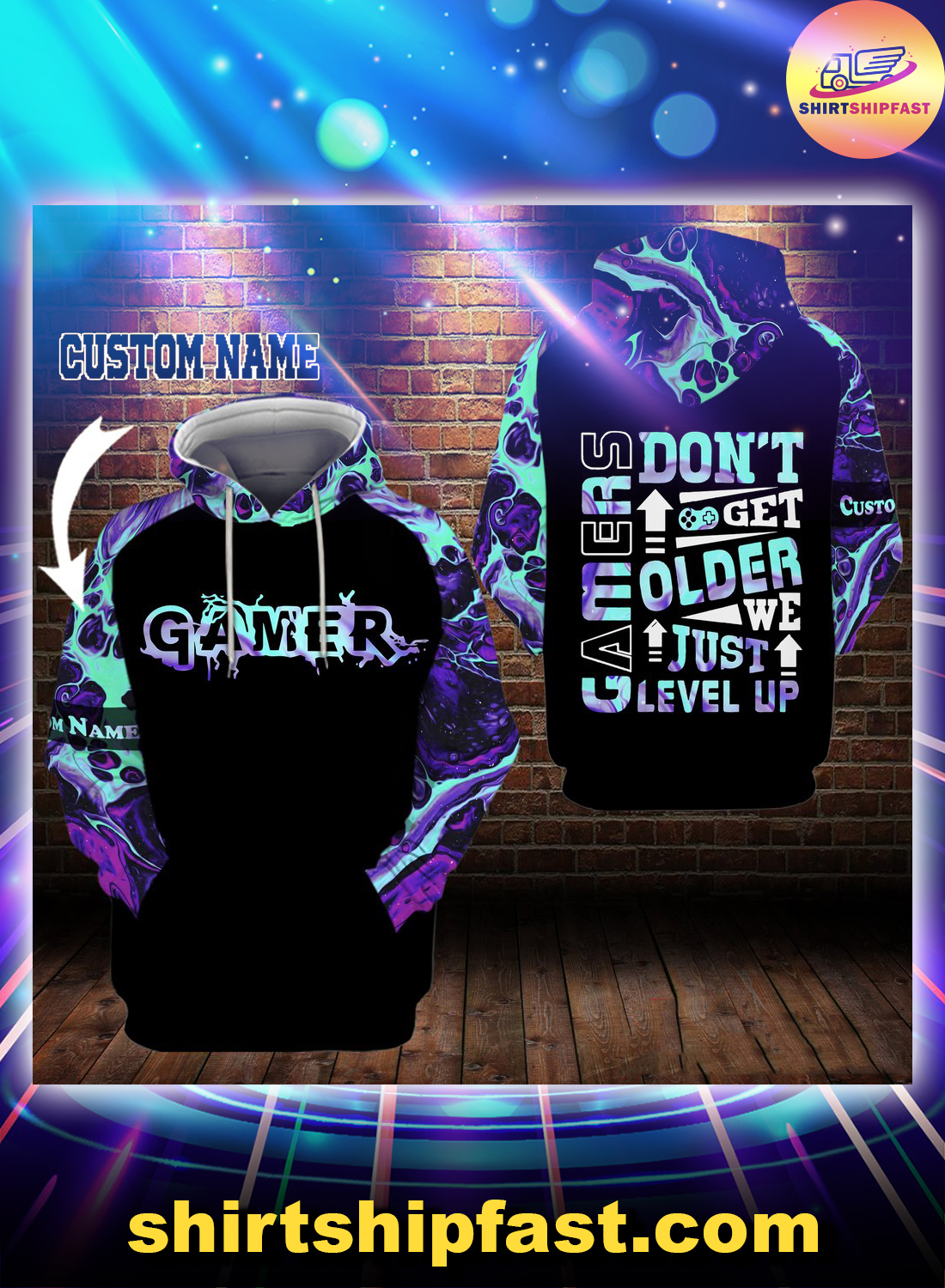 Gamers don't get older we just level up custom name 3d hoodie