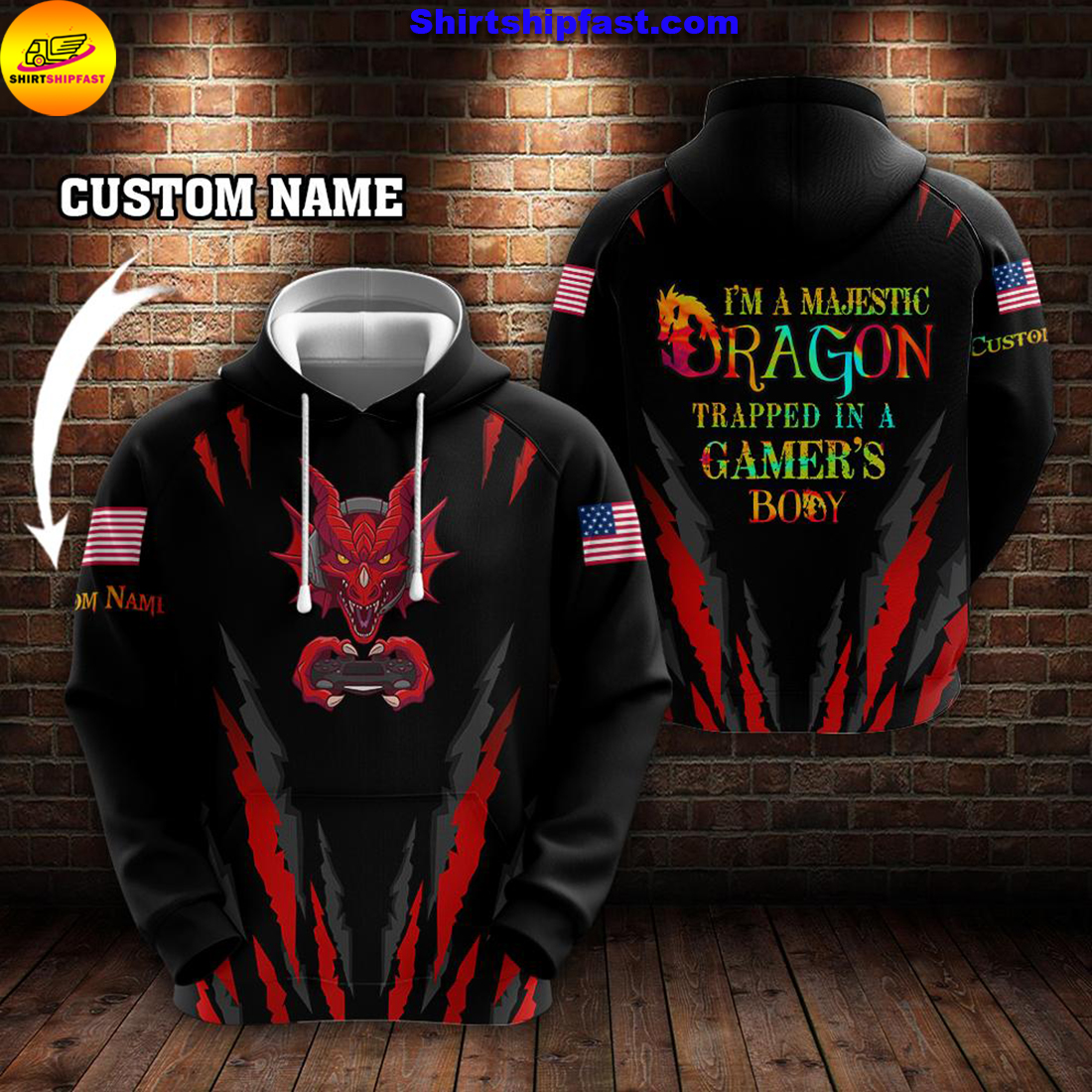 Gaming I'm a majestic dragon trapped in a gamer's body custom name 3d hoodie and zip hoodie