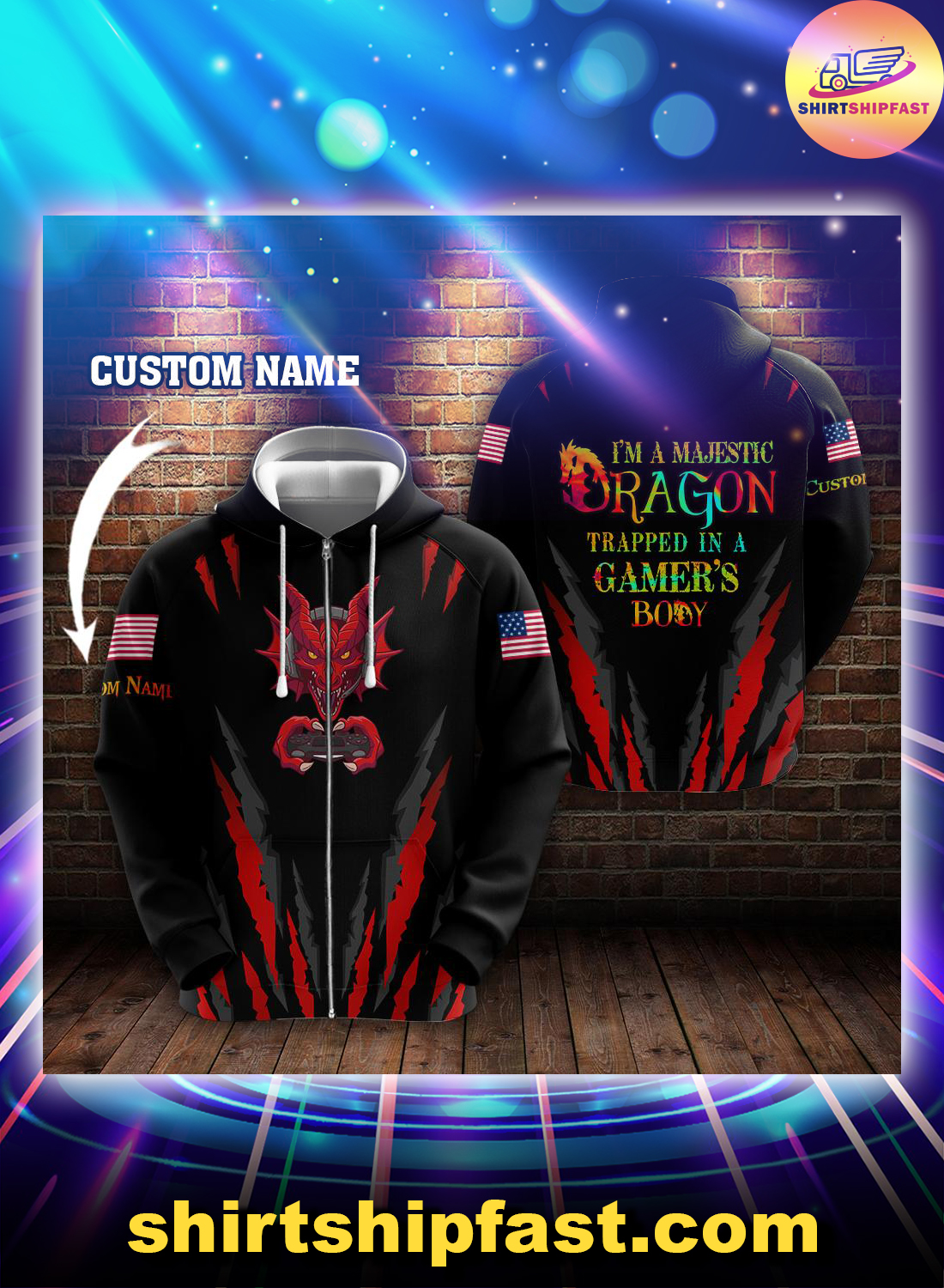 Gaming I'm a majestic dragon trapped in a gamer's body custom name 3d zip hoodie