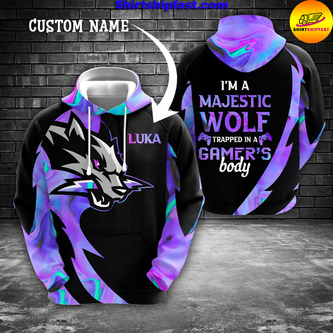 Gaming I'm a majestic wolf trapped in a gamer's body custom name 3d hoodie and zip hoodie