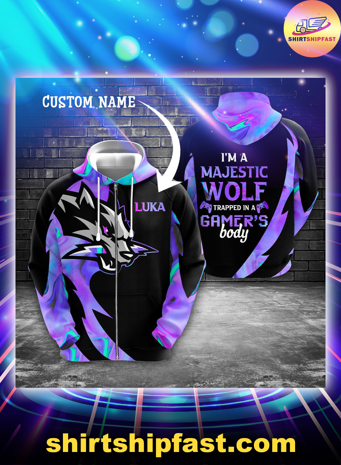 Gaming I'm a majestic wolf trapped in a gamer's body custom name 3d zip hoodie