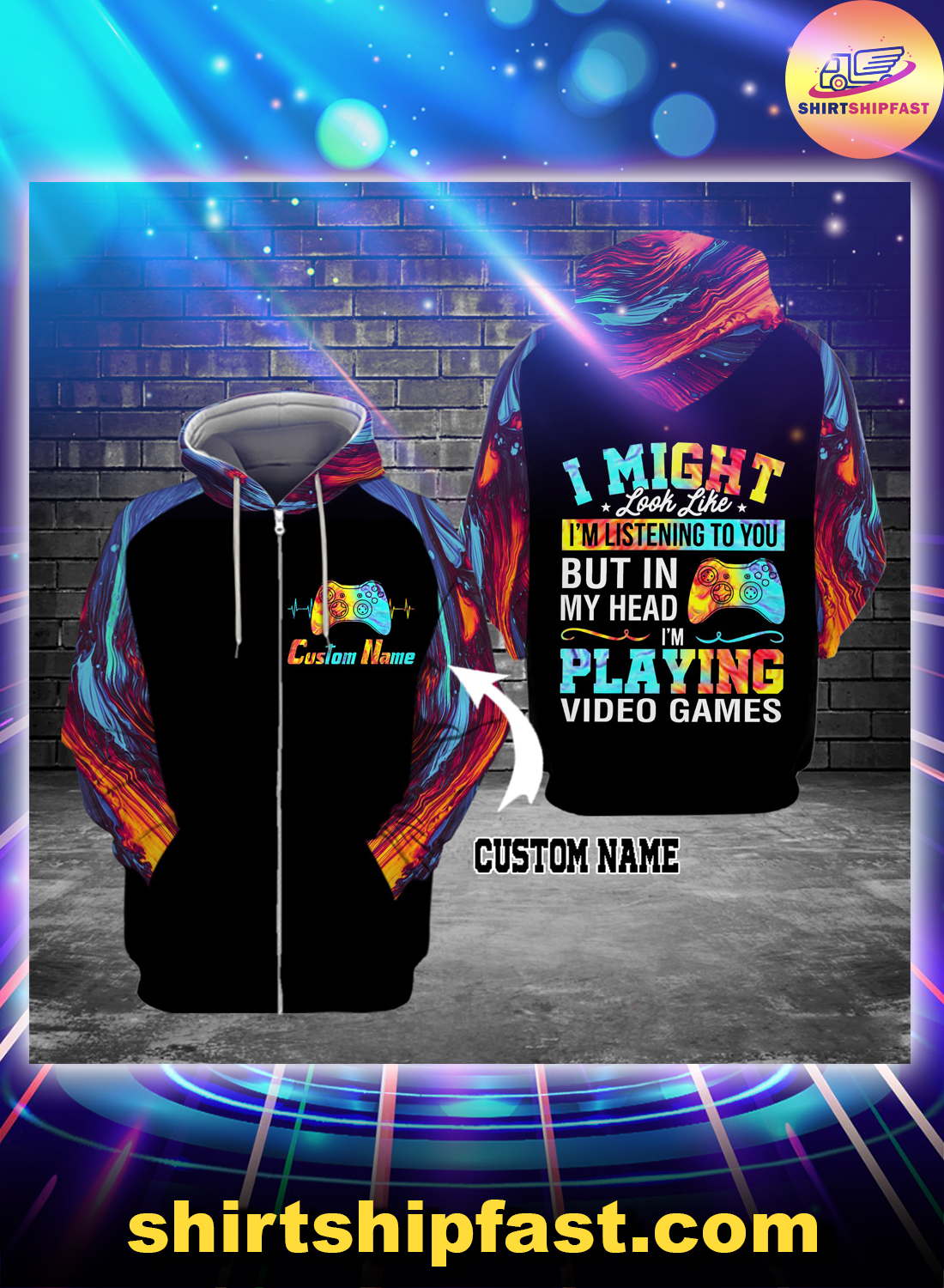 I might look like I'm listening to you but in my head personalized custom name 3d zip hoodie