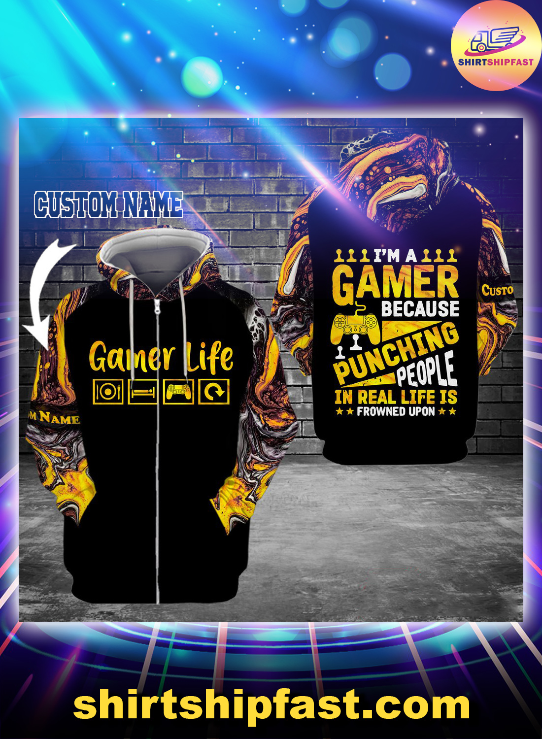 I'm a gamer because punching people in real life is frowned upon custom name 3d zip hoodie