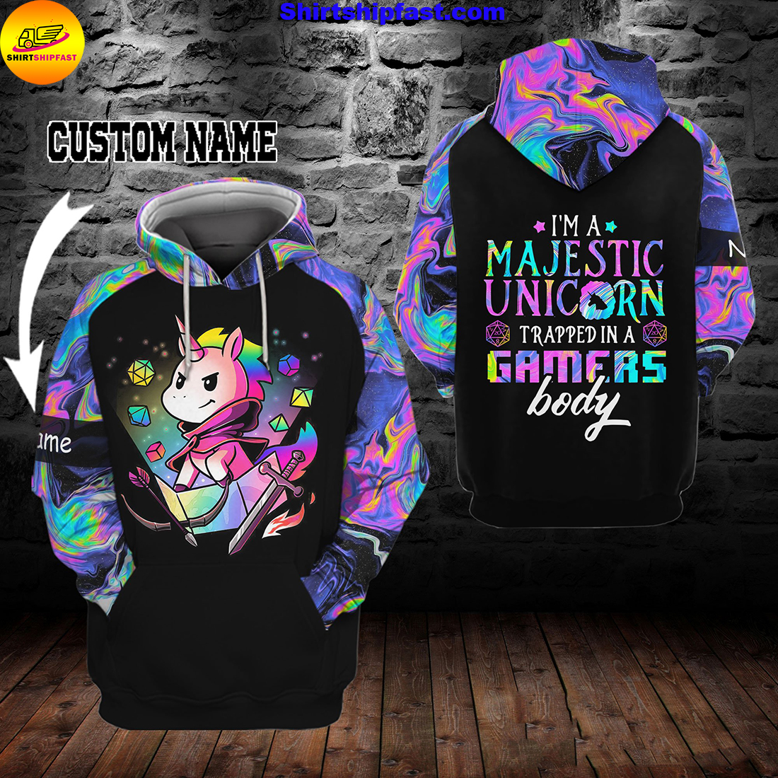 I'm a majestic unicorn trapped in a gamer's body custom name 3d hoodie and zip hoodie