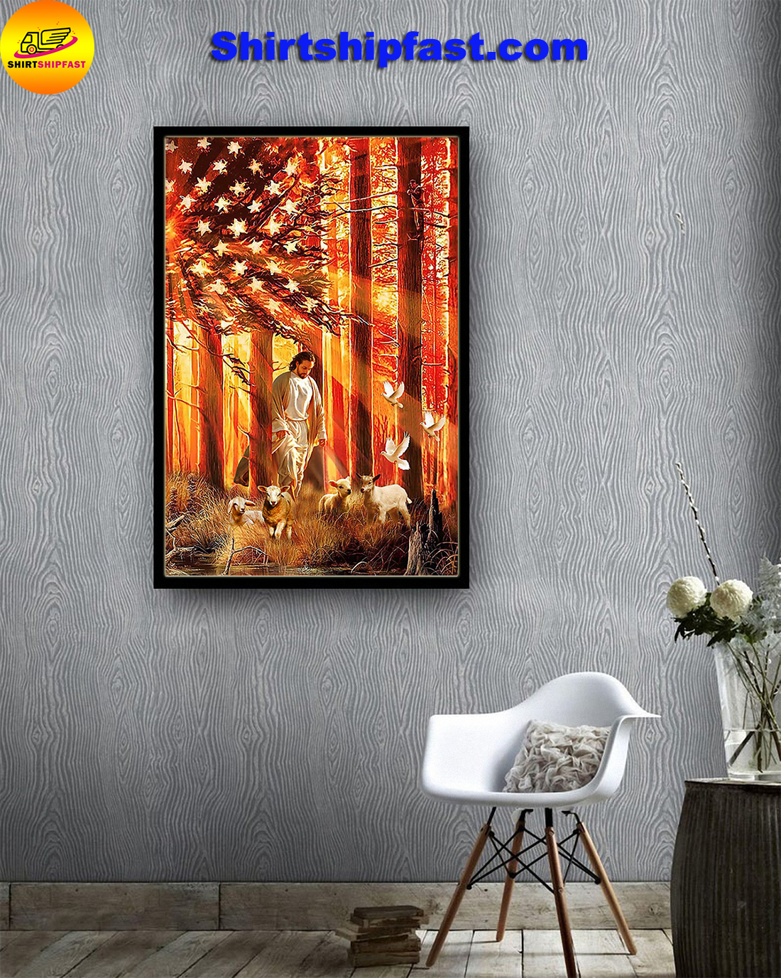 Lamb Dove God American flag poster - Picture 1