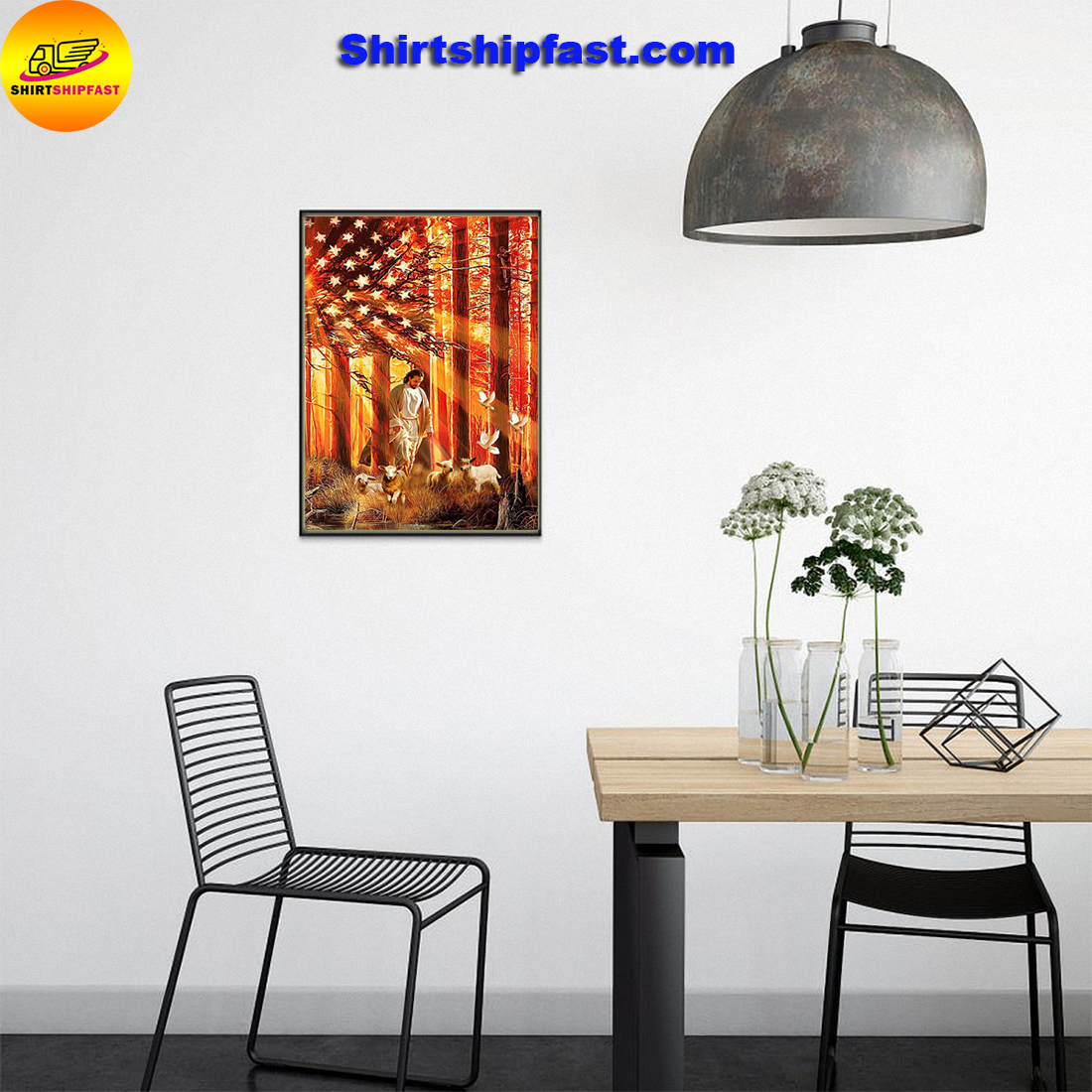Lamb Dove God American flag poster - Picture 3