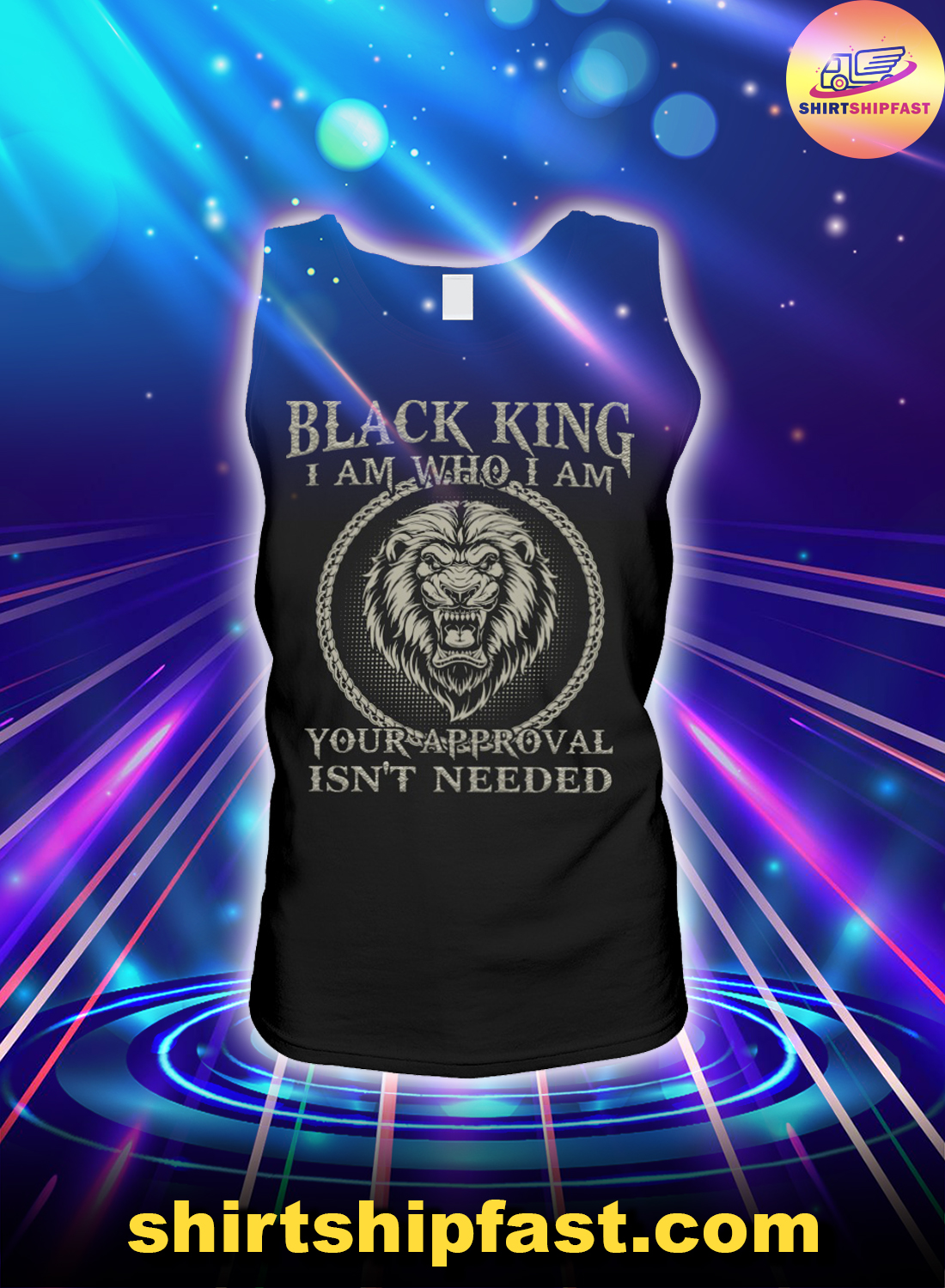 Lion black king I am who I am your approval isn't needed tank top