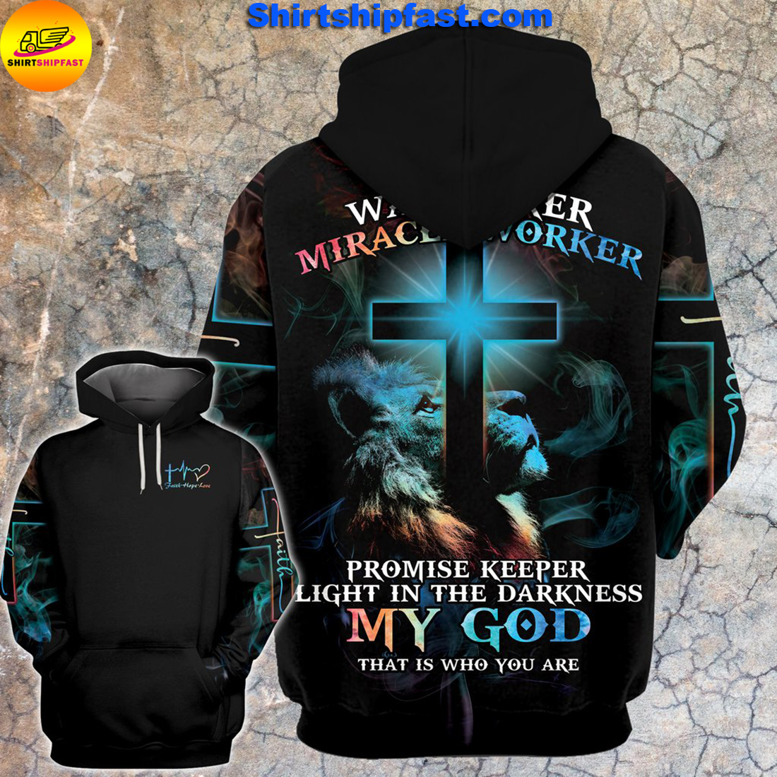 Lion cross light Way maker miracle worker all over printed hoodie