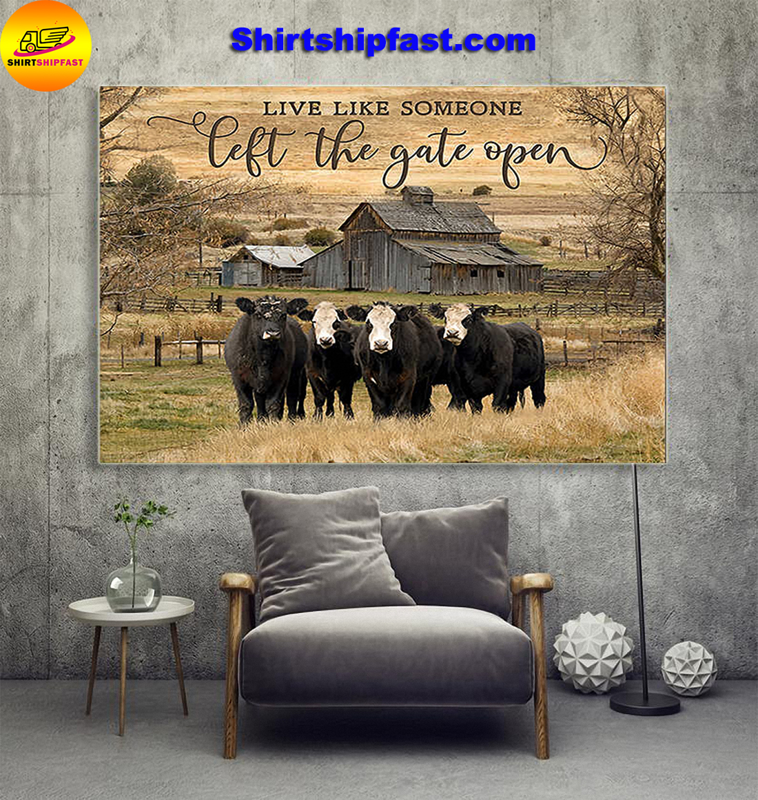 Live like someone left the gate open Cows canvas