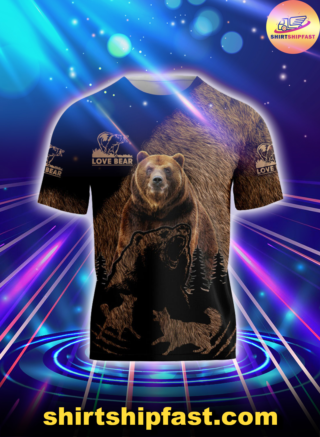 Love bear all over printed t-shirt