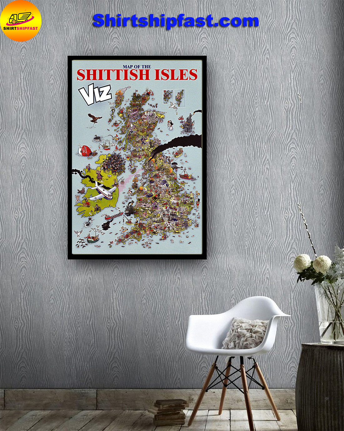 Map of The Shittish Isles viz poster - Picture 1