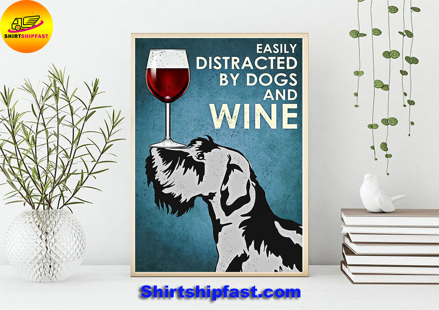 Miniature schnauzer Easily distracted by dogs and wine poster - Picture 2