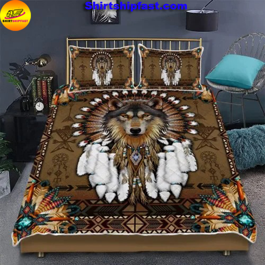 Native American wolf spirit bed set - Picture 1