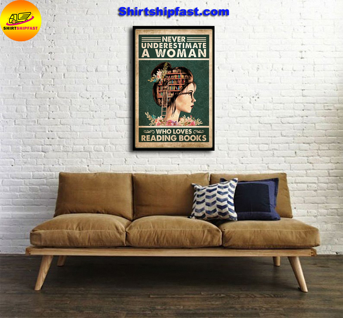 Never underestimate a woman who loves reading books poster - Picture 1