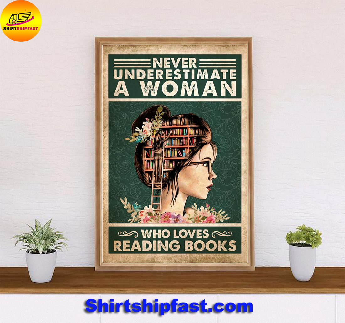 Never underestimate a woman who loves reading books poster - Picture 2