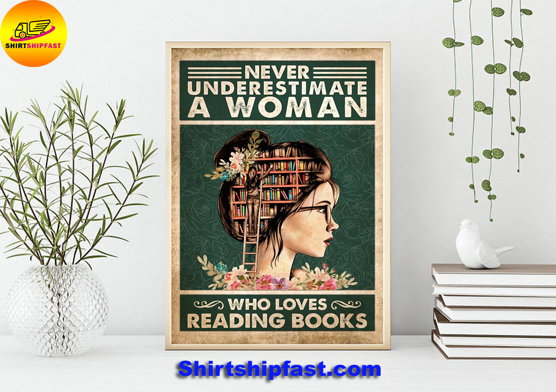 Never underestimate a woman who loves reading books poster - Picture 3