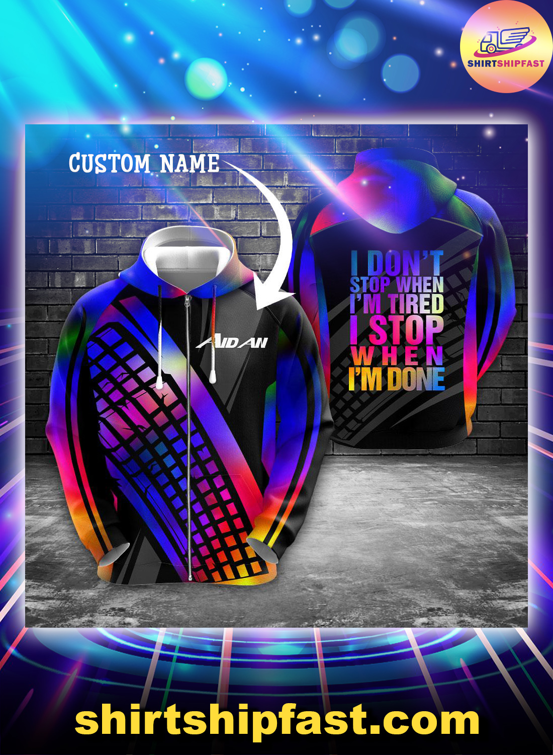 PC gamer I don't stop when I'm tired I stop when I'm done personalized custom name 3d zip hoodie
