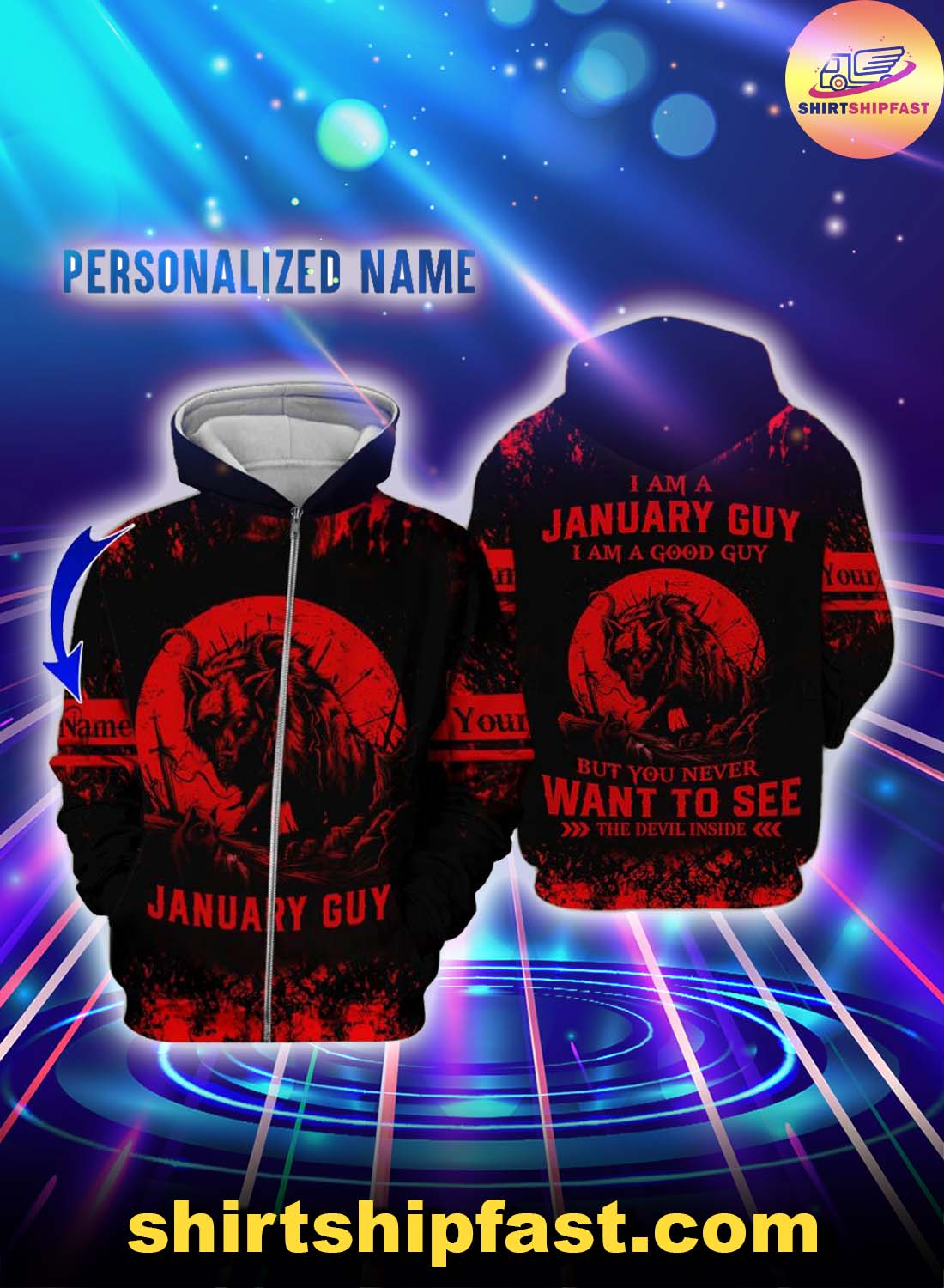 Personalized name I am a January guy I am a good guy but you never want to see the devil inside 3d zip hoodie