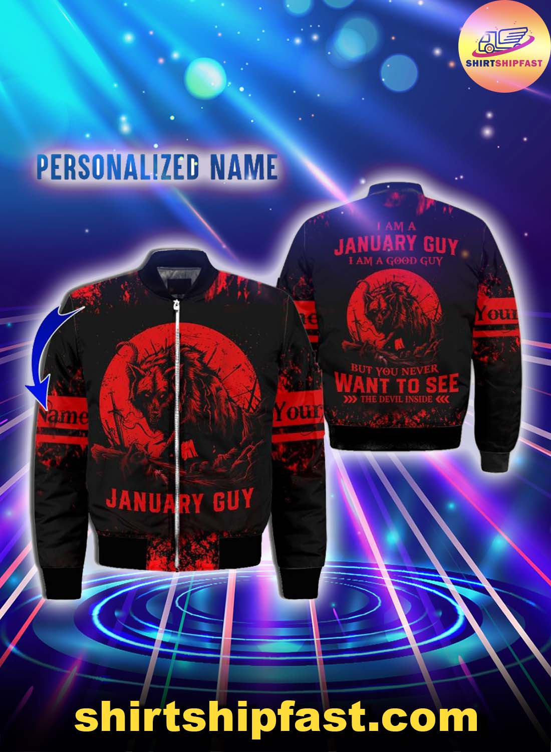 Personalized name January guy all over printed bomber