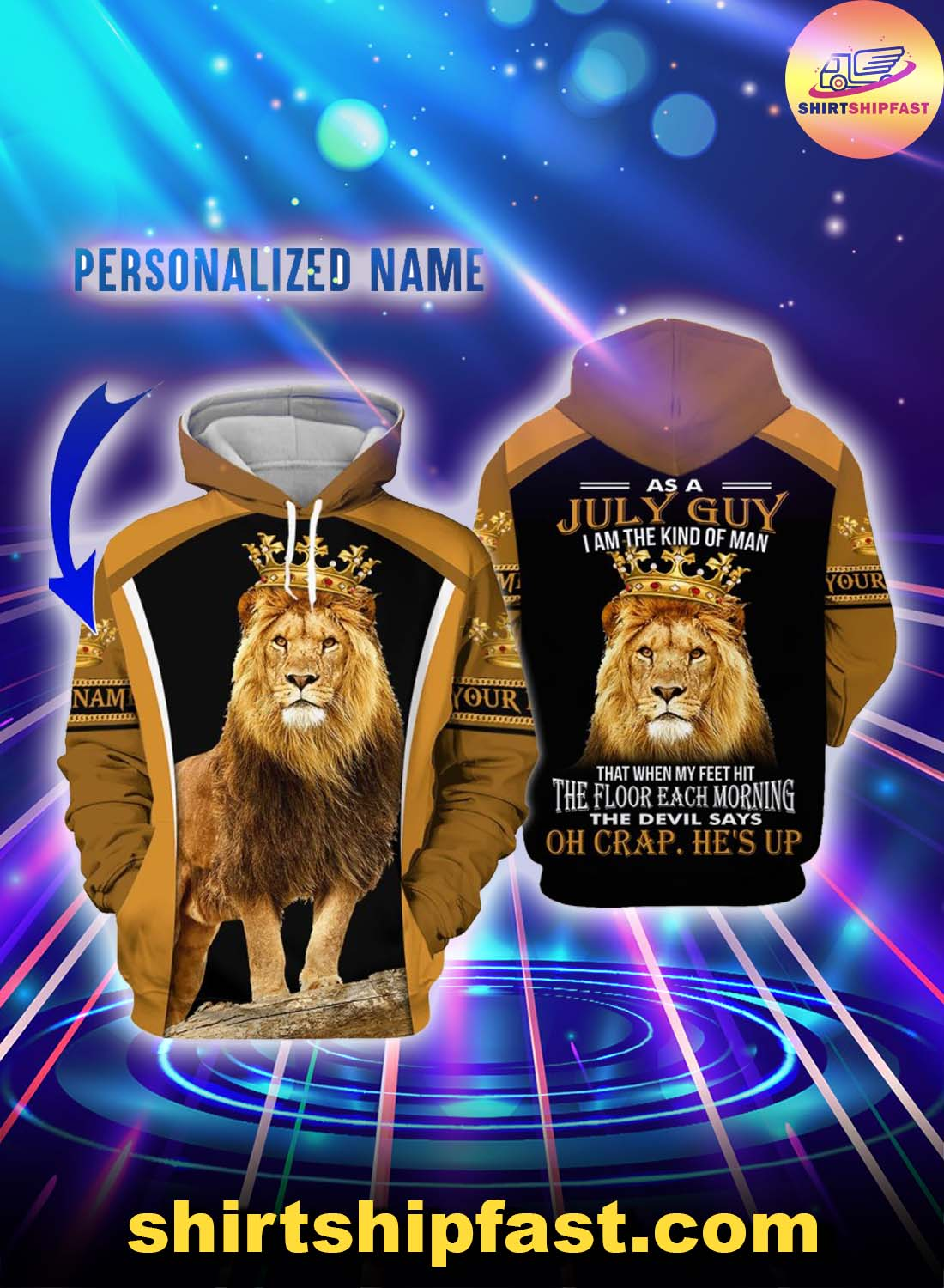 Personalized name July guy all over printed hoodie