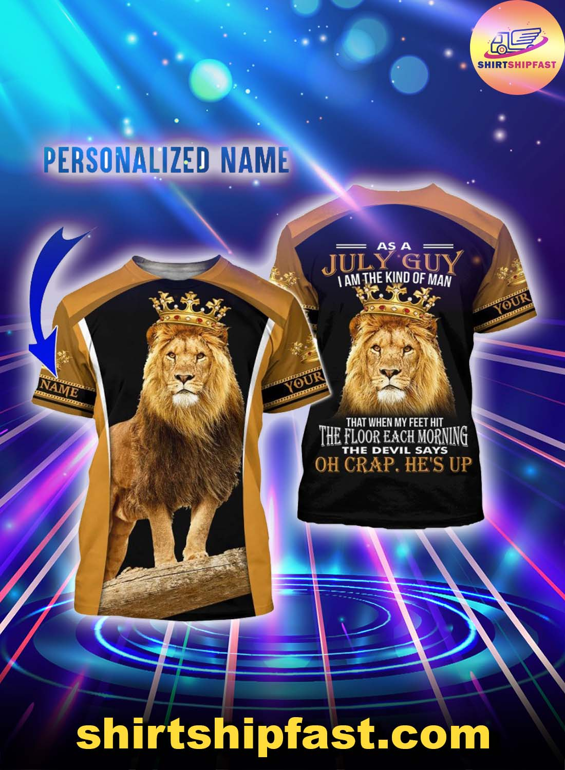 Personalized name July guy all over printed t-shirt and hoodie