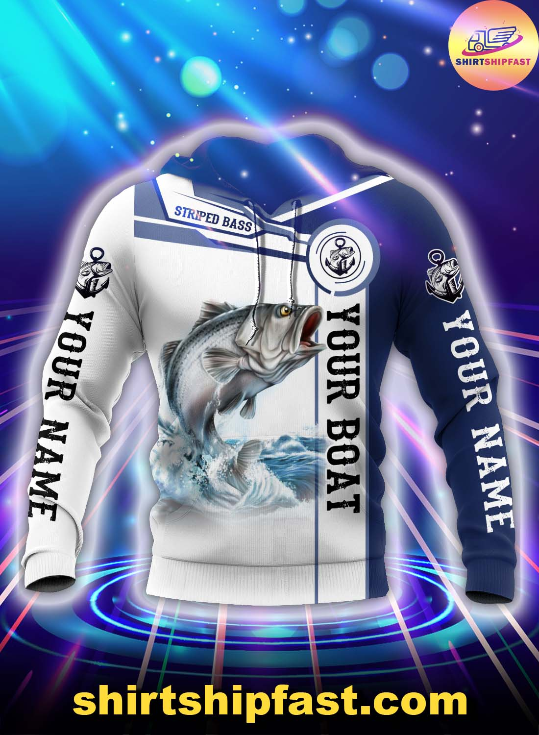 Personalized striped bass fishing catch and release 3d hoodie